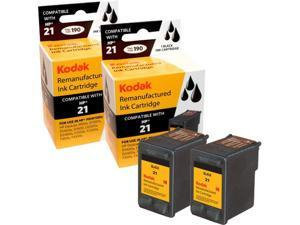 KODAK Remanufactured Ink Cartridge Combo Pack Compatible With HP 21 (C9508BN) High-Yield 2 Black Cartridges