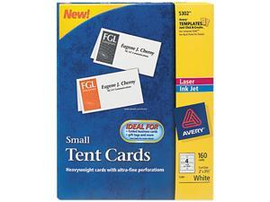 Avery 5302 Tent Cards, White, 2 x 3-1/2, 4 Cards/Sheet, 160 Cards/Box