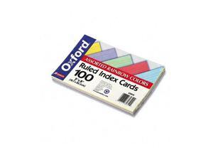 Oxford 35810 Ruled Index Cards, 5 x 8, Blue/Violet/Canary/Green/Cherry, 100/Pack