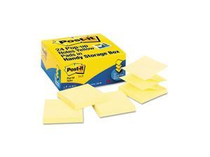 Post-it                                  Pop-Up Note Refills, 3 x 3, Canary Yellow, 24 100-Sheet Pads/Pack