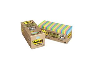 Post-it Greener Notes 654R-24CP-AP Recycled Notes, 3 x 3, Pastel, 24 75-Sheet Pads/Pack