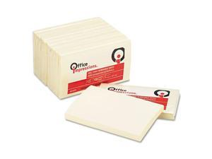 Office Impressions Yellow Self-Stick Notes, 3 x 5, 12 100-Sheet Pads/Pack