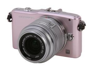 """OLYMPUS PEN E-PM1 (V206011PU000) Pink 12.3 MP 3.0"""" 460K LCD Interchangeable Lens Type Live View Digital Camera w/14-42mm ..."""