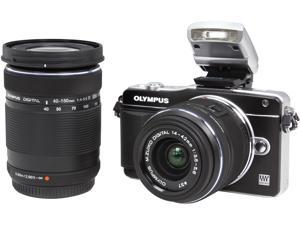 "OLYMPUS E-PM2 Black 16.1MP with 14-42mm and 40-150mm Two Lenses Kit V206021BU070 3.0"" 460K Touch LCD Interchangeable Lens System Camera"