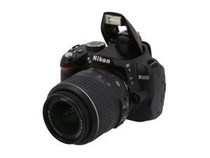 Nikon D3000 Black Digital SLR Camera w/ 3x 18-55mm Zoom-NIKKOR VR Lens