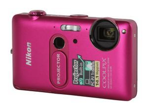 Nikon COOLPIX S1200pj Pink 14.1 MP 5X Optical Zoom Digital Camera with Built-In 20 Lumens Movie Projector