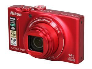 Nikon Coolpix S8200 26289 Red 16.1 MP 25mm Wide Angle Digital Camera HDTV Output