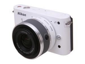 Nikon 1 J1 White 10.1MP HD Digital Camera System with 10-30mm VR 1 NIKKOR Lens