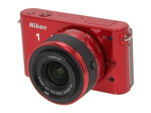 Nikon 1 J1 Red 10.1MP HD Digital Camera System with 10-30mm VR 1 NIKKOR Lens