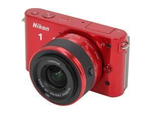 Nikon 1 J1 Red 10.1MP HD Digital Camera System with 10mm and 10-30mm VR Zoom Lens