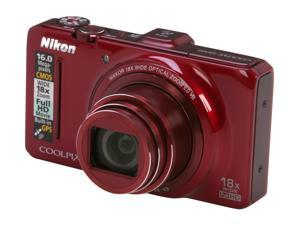 Nikon S9300 Coolpix 26316 Red 16 MP 25mm Wide Angle Digital Camera                                                       ...
