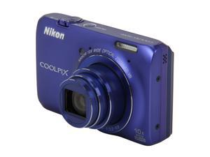 Nikon Coolpix S6300 26302 Blue 16MP 25mm Wide Angle Digital Camera HDTV Output