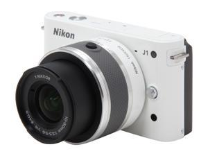 Nikon 1 J1 (27547) White Compact Mirrorless System Camera w/10-30mm VR & 30-110mm Lenses