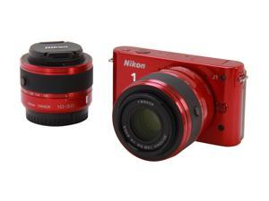 Nikon 1 J1 (27553) Red Compact Mirrorless System Camera w/10-30mm VR & 30-110mm Lenses