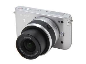 Nikon 1 J1 (27551) Silver Compact Mirrorless System Camera w/10-30mm VR & 30-110mm Lenses