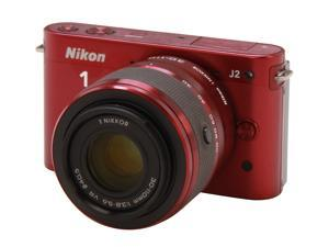 Nikon 1 J2 (27587) Red Mirrorless Camera w/10-30mm & 30-110mm VR Lenses