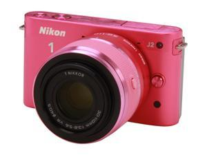 Nikon 1 J2 (27588) Pink Mirrorless Camera w/10-30mm & 30-110mm VR Lenses
