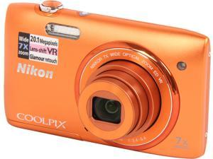 Nikon COOLPIX S3500 26381 Orange 20.1 MP 26mm Wide Angle Digital Camera