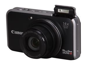 Canon PowerShot SX210 IS Black 14.1 MP 28mm Wide Angle Digital Camera