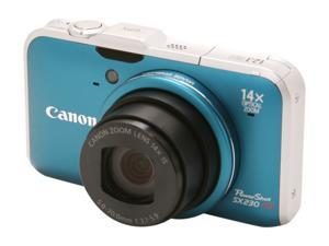 Canon SX230IS HS Blue 12.1 MP 28mm Wide Angle Digital Camera