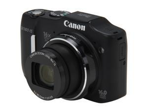 Canon PowerShot SX160 IS 6354B001 Black Approx. 16 MP 28mm Wide Angle Digital Camera HDTV Output