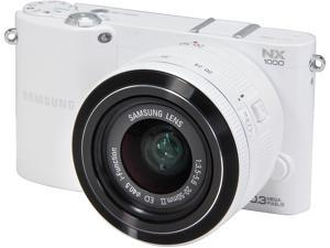 SAMSUNG NX1000 EV-NX1000BFWUS White Mirrorless Digital Camera with 20-50mm Lens