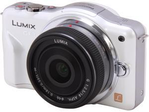 Panasonic LUMIX DMC-GF3CW White LCD Digital Interchangeable Dual Lens System Camera w/ 14mm Lens Kit