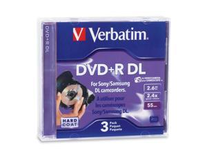 Verbatim 95313 Mini DVD+R DL 2.6GB 2.4X Branded 3pk Jewel Case