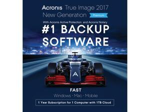Acronis True Image 2017 Premium - 1 Device + 1TB Cloud Storage for Free