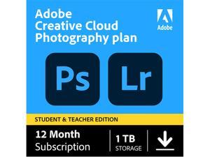 Adobe Creative Cloud Photography plan with 1TB Student and Teacher - 1 Year Subscription (PC/MAC Digital)