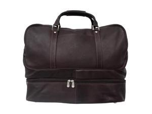 Piel LEATHER 8965-CHC Chocolate False-Bottom Sports Bag