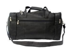 Piel LEATHER 2025BLK Travel Duffel W/ Side Pocket - Black