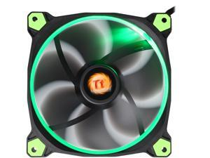 Thermaltake Riing 14 Series High Static Pressure 140mm Circular Green LED Ring Case/Radiator Fan CL-F039-PL14GR-A