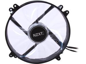 NZXT RF-FZ20S-W1 White LED True 200mm Wide White LED Fan with Sleeved-Cable