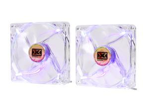 XIGMATEK FCB (Fluid Circulative Bearing) Cooling System Crystal Series CLF-F1255 120mm Purple LED Case Fan, 2 pcs in 1 package CFS-SXGJS-PU2