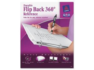 "Avery                                    Durable Flip Back Round Ring View Binder, 1"" Capacity, White"