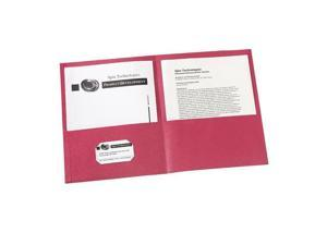 Avery                                    Two-Pocket Embossed Paper Portfolio, 30-Sheet Capacity, Red, 25/Box