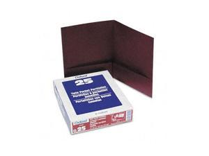Oxford                                   Twin-Pocket Linen Paper Portfolio, Burgundy
