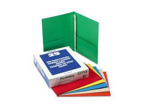 "Oxford 57713 Paper Twin-Pocket Portfolio, Tang Clip, Letter, 1/2"" Capacity, Assorted, 25/Box"