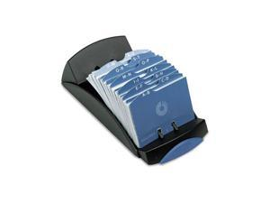 Rolodex™                                 Open Tray Business Card File, 100 Sleeves, Black