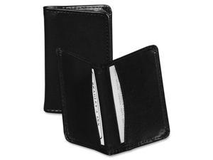 Samsill Regal Leather Business Card Wallet Holds 25 2 x 3 1/2 Cards, Black