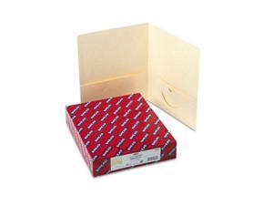 Smead                                    Two-Pocket Portfolio, Embossed Leather Grain Paper, Ivory, 25/Box
