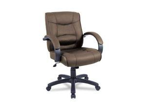 Alera SR42LS50B Strada Series Mid-Back Swivel/Tilt Chair w/Brown Leather Upholstery