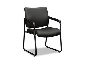 basyx VL443VC12 VL443 Series Guest Chair with Gray Fabric, Black Frame & Sled Base