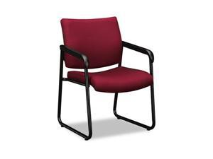 basyx VL443VC62 VL443 Series Guest Chair with Burgundy Fabric, Black Frame & Sled Base