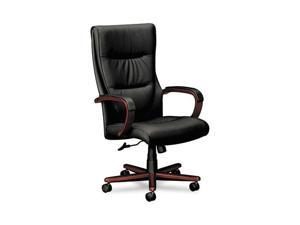 basyx VL844NSP11 VL844 Series High-Back Swivel/Tilt Chair, Black Leather/Mahogany