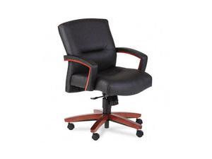 HON 5002JSS11 5000 Series Park Avenue Managerial Mid-Back Chair, Henna Cherry/Black Leather