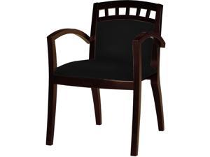 Mayline VSC5ABMAH Mercado Series Arch-Back Wood Guest Chair, Mahogany/Black Leather