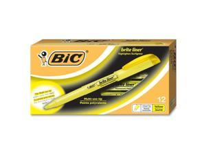 BIC BL11-YW Brite Liner Highlighter, Chisel Tip, Fluorescent Yellow Ink, 12 per Pack