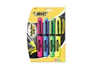 BIC BLMGP41-ASST Brite Liner Grip XL Highlighter, Chisel Tip, Fluorescent, 4/Set